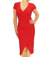 New Short Sleeved Ruched Mock Wrap Dress - V Neck
