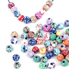 Lots Polymer Fimo Clay Round Flower Beads Handpaint Charms Fit Bracelet 8/10mm