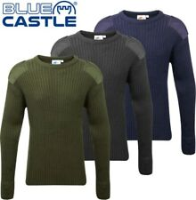 Blue Castle - Crew Neck Combat Jumper - Army Style Work Jumper. Green/Black/Blue
