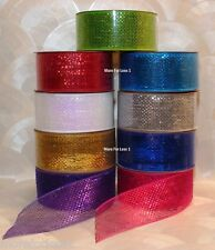 "CHOOSE COLOR Ribbon Metallic Sparkle Weave 60 Feet 2 1/2"" Wide 20 Yard Dbl Face"