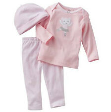 Carters Preemie Newborn 6 9 Months Top & Pants Hat Set Baby Girl Outfit Clothes