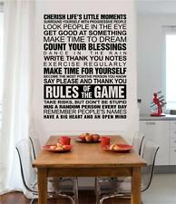 Rules Of The Game Cherish Life Vinyl Wall Decals Sticker Words Letters Decor