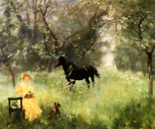 A SUMMER DAY LADY READING BOOK DOG HORSE GARDEN PAINTING BY ALFRED ROLL REPRO