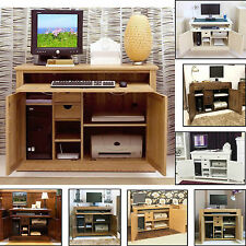 Computer Desk Hideaway Hidden Home Office Study PC Laptop Modern Furniture
