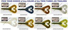 Missile Twin Turbo Soft Plastic Double Tail Craw MBTT33 Any Color Jig Trailers