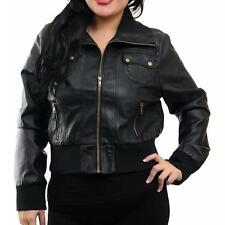 PT33 - XL 2XL 3XL Plus Size Motorcycle Biker Faux Leather Jacket Outerwear Black