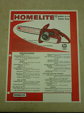 HOMELITE CHAIN SAW SALES BROCHURE SPEC SHEET