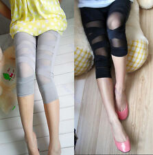 Women Ripped Torn Stretch Slash Punk Legging Bandage Tights Seven Socks Pants