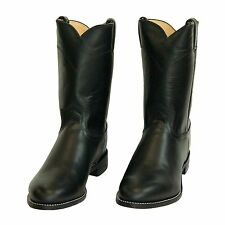 Brand New Mens Black Leather Roper Cowboy Boots by Justin Boot Co.
