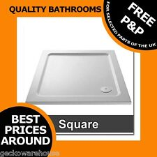 White Square 40mm High Low Profile Stone Resin Shower Tray Slimline 90mm Waste