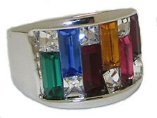 DESIGNER  TUBE CUT MULTI GEM  SIMULATED DIAMOND  RING CR0826W PLATINUM PLATE