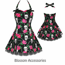 RKH19 Hearts & Roses Skull Punk Gothic Short Rockabilly Dress 50's Vintage Swing