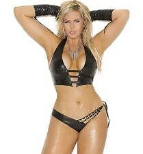 Black Leather Halter Cami Top Studs Matching Side Tie Panty OS-Queen NWT L1142