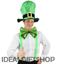 ADULTS IRISH HAT SET LEPRECHAUN FANCY DRESS IRELAND CLOVER ST PATRICK'S DAY