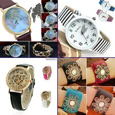 C1MY Women Girl Lady Casual Bracelet Watch Quartz Movement Leather WristWatch