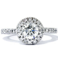 H/VS1 .75CT Halo Real Diamond Engagement Ring 14K White Gold Size 4-9