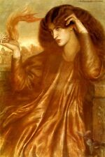 THE LADY OF THE FLAME BEAUTIFUL WOMAN EYES LOVE FIRE BY DANTE ROSSETTI REPRO