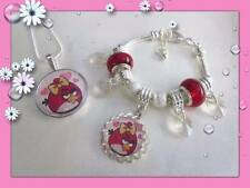SUPER GORGEOUS LITTLE GIRLS ANGRY BIRDS SILVER NECKLACE BRACELET OR SET
