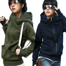Womens High tie Hooded Coat Pullover Encase Finger Long Sleeve Sweater Hot Sale
