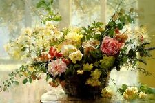 FROM THE ROSE GARDEN I ARRANGEMENT OF FLOWERS PAINTING BY LARISSA PSARYOVA REPRO