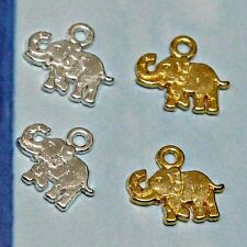 40 x Gold / Silver Plated Elephant Charms / Tags Jewellery Making Findings