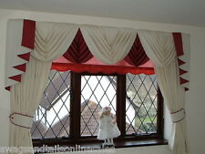 "BLACK SWAGS & TAILS +CURTAINS SETS, FITS WINDOWS 61"" to 105""(155-267cm)  WIDTHS,"