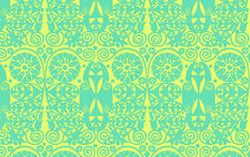 By HALF YARD Amy Butler Soul Blossoms TEMPLE DOORS Fresh Mint AB60 Fabric Floral
