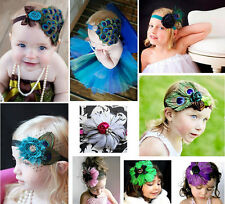 Baby Girl Kids Children Flower Feather Headband HairBand Bow Accessories Peacock