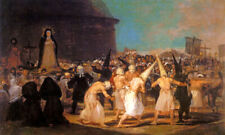 A PROCESSION OF FLAGELLANTS HOLLY WEEK CRUCIFIXION CHRIST PAINTING BY GOYA REPRO