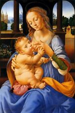 THE VIRGIN AND CHILD BREASTFEEDING 1490 PAINTING BY LORENZO DI CREDI REPRO