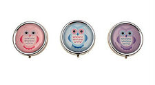 Choice of 3 Colours Handy Owl Chrome Pill Box with 3 Compartments in Gift Box