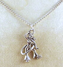 Pewter Hula Hoop Girl Pendant on a Silver Tone Link Chain Necklace -5458