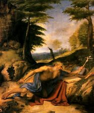 THE PENITENT SAINT JEROME HERMIT BIBLE CRUCIFIX STONE PAINTING BY LOTTO REPRO