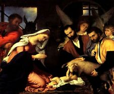 ADORATION OF THE SHEPHERDS BABY JESUS MARY JOSEPH MANGER PAINTING BY LOTTO REPRO