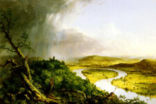THE OXBOW RIVER VIEW FROM MOUNT HOLYOKE THUNDERSTORM BY THOMAS COLE REPRO