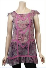 NEW John Rocha Pink Grey Abstract Chiffon Tunic Dress Sizes UK 12 14 EU 40 & 42