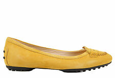 TOD'S WOMEN'S SUEDE BALLET FLATS BALLERINAS NEW STITCHING YELLOW  D61