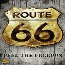 VINTAGE ROUTE 66 ROAD SIGN #2 IMAGE FABRIC/RUBBER BACK COASTERS SETS U PICK SET