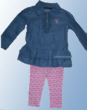 CALVIN KLEIN JEANS TODDLER GIRLS CHAMBRAY TUNIC TOP + LEGGINGS OUTFIT NEW