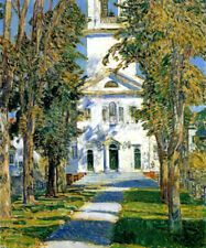 THE CHURCH AT GLOUCESTER 1918 IMPRESSIONIST PAINTING BY CHILDE HASSAM REPRO