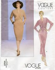 Vogue Couture Semi-Fit Dress in 2 Lengths w/Raised Neckline Sewing Pattern 2754