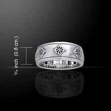 Celtic WITCHES Knot Ring .925 S Silver Quaternary Knot Spinner ring Wicca Pagan