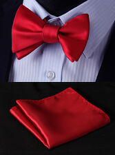 BL21R Hot Pure Red Solid Bowtie Silk Men Self Bow Tie Butterfly handkerchief set