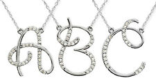 """1/4CT Diamond Initial Pendant Necklace & 18"""" Chain 14K Solid White Gold (A to Z)"""