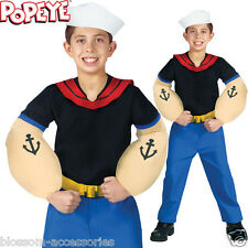 CK143 Popeye Sailor Nautical Kids Boys Muscle Halloween Fancy Book Week Costume