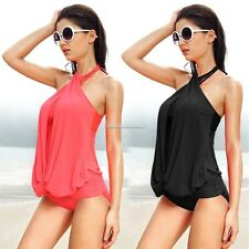 3 Colors!!!New One Piece Padded Monokini Halter Ladies Swimsuit M L XL 2XL SH