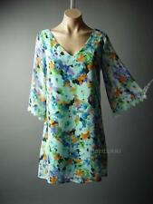 Painterly Floral Print Chiffon Flared Bell Sleeve Shift Party 77 mv Dress M L
