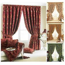 Floral Jacquard Curtains - Ready Made Fully Lined Pencil Pleat Curtain Pair