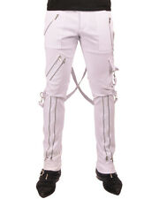 Tripp NYC Bondage Pants Mens White Zip Strap Goth Punk Skinny Jeans Trousers