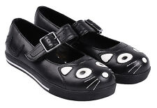 T.U.K. Kitty Cat Face & Tail Black Vulcanized Mary Jane Plimsole Plimmie Shoes